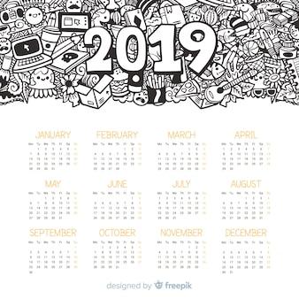 Modelo de calendário moderno mão desenhada 2019