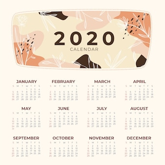 Modelo de calendário natureza 2020