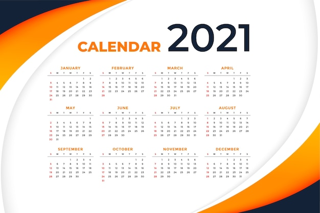 Modelo de calendário ondulado de ano novo elegante