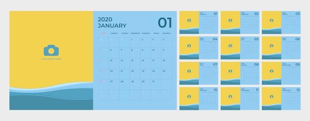 Modelo de calendário para 2020.
