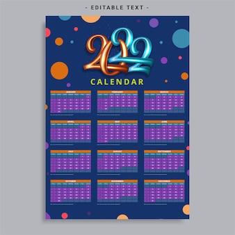 Modelo de calendário para o ano de 2022