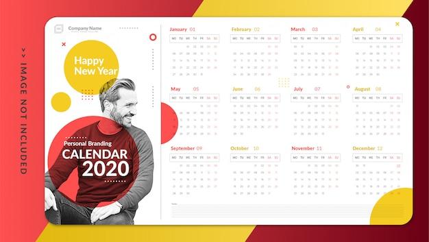 Modelo de calendário pessoal minimalista
