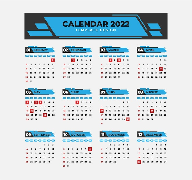 Modelo de calendário profissional 2022 com estilo geométrico