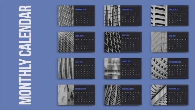 Modelo de calendário profissional simples azul para imóveis