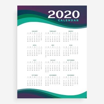 Modelo de calendário vertical 2020