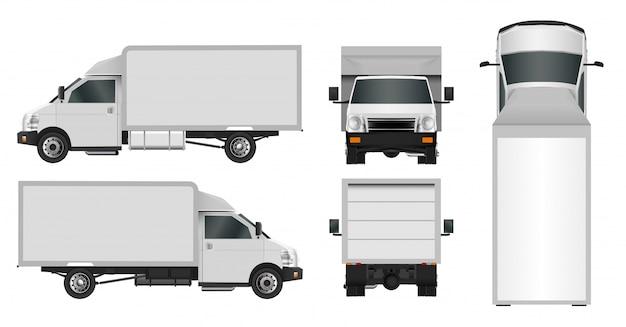 Modelo de caminhão branco, serviço de entrega de carro comercial da cidade