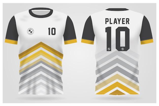 Modelo de camisa abstrata branca de esportes para uniformes de equipe e design de camisetas de futebol