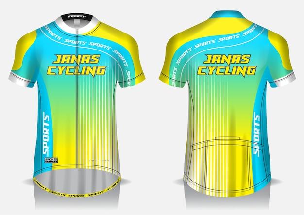 Modelo de camisa amarela de ciclismo, uniforme, camiseta frontal e traseira