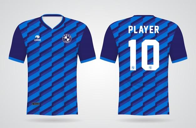 Modelo de camisa azul esportiva para uniformes de equipe e design de camisetas de futebol