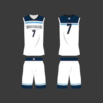 Modelo de camisa de basquete branco e azul