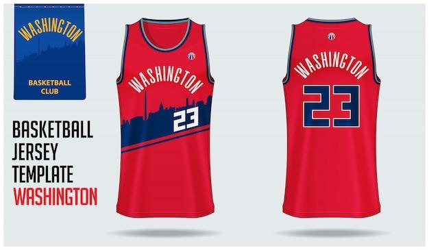 Modelo de camisa de basquete de washington