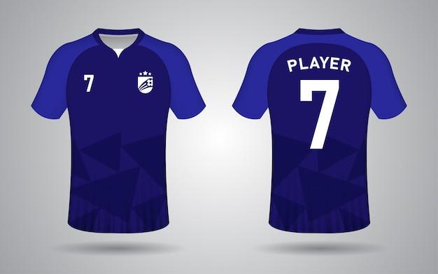 Modelo de camisa de futebol azul escuro