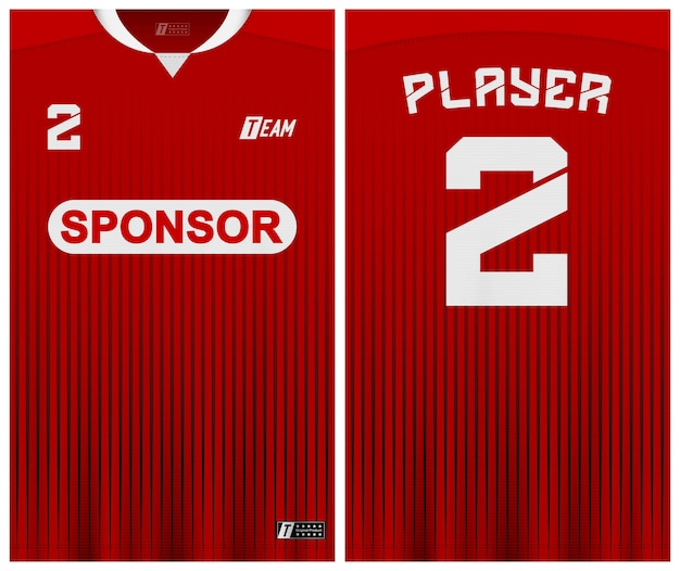 Modelo de camisa de futebol de cor vermelha
