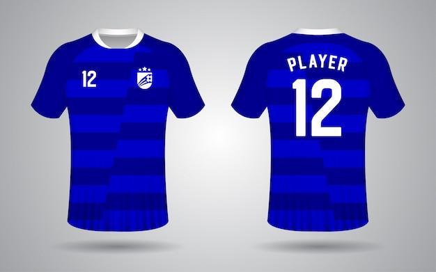 Modelo de camisa de futebol de manga curta azul