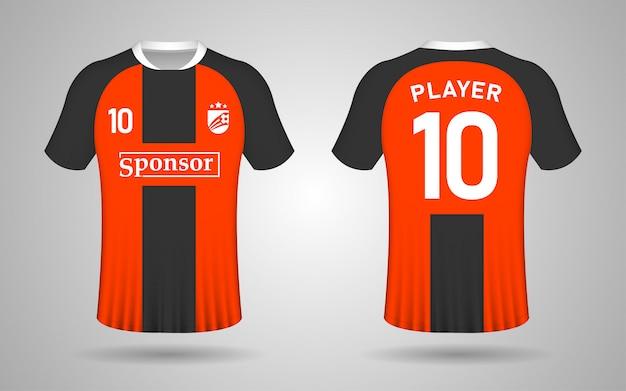 Modelo de camisa de futebol laranja e preto