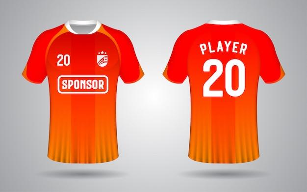 Modelo de camisa de futebol laranja na frente e nas costas