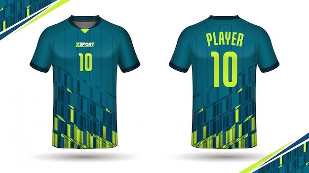 Modelo de camisa de futebol para trás e frente