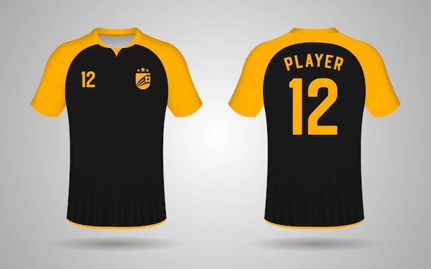 Modelo de camisa de futebol preto e laranja