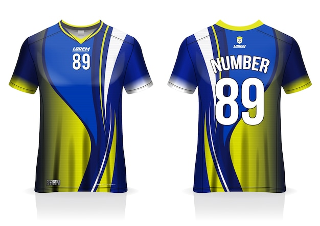 Modelo de camisa de futebol uniforme vista frontal e traseira