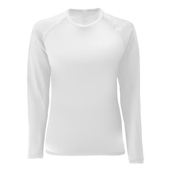 Modelo de camisa de t, branco vista frontal em branco.