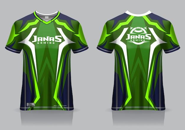 Modelo de camisa esport t camisa de jogo, uniforme, vista frontal e traseira
