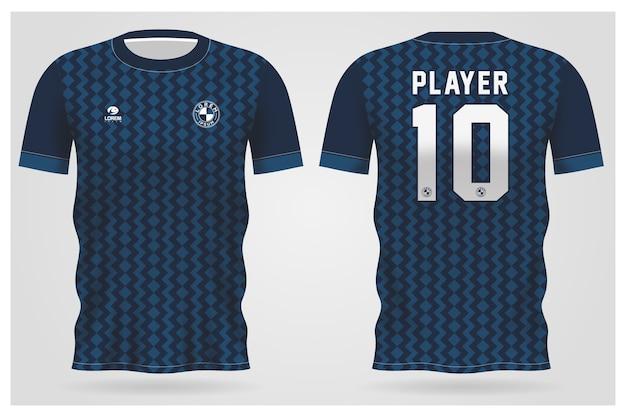 Modelo de camisa esporte azul abstrato para uniformes de equipe e design de camisetas de futebol