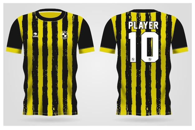 Modelo de camisa esporte preta amarela grunge para uniformes de equipe e design de camisetas de futebol
