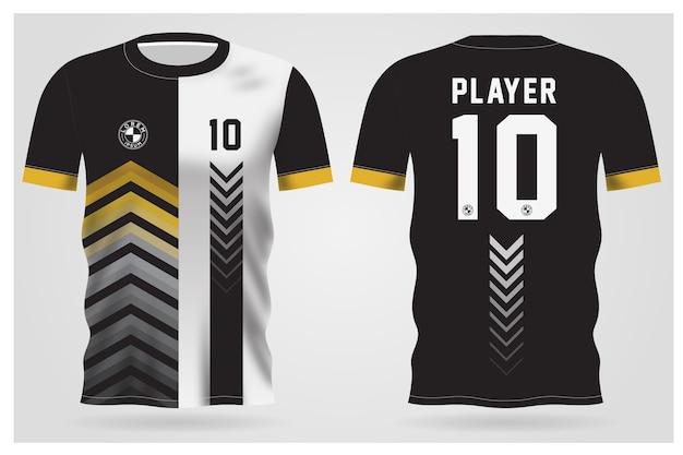 Modelo de camisa esporte preto branco abstrato para uniformes de equipe e design de camisetas de futebol