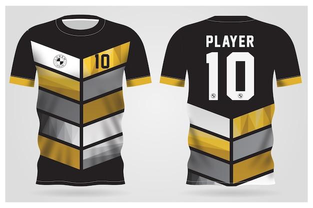Modelo de camisa esporte preto ouro abstrato para uniformes de equipe e design de camisetas de futebol
