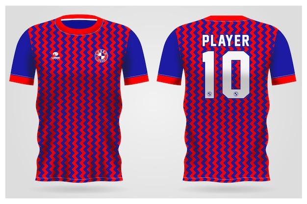 Modelo de camisa esporte vermelho azul abstrato para uniformes de equipe e design de camisetas de futebol