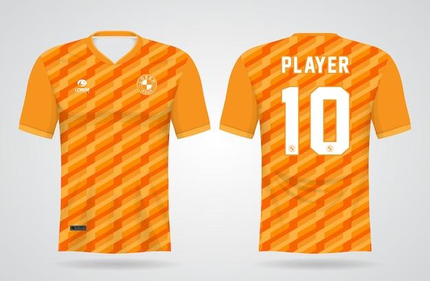 Modelo de camisa esportiva amarela e laranja para uniformes de equipe e design de camisetas de futebol