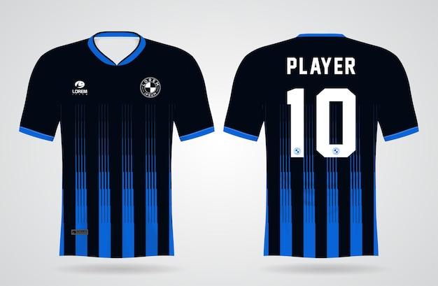 Modelo de camisa esportiva azul e preta para uniformes de equipe e design de camisetas de futebol