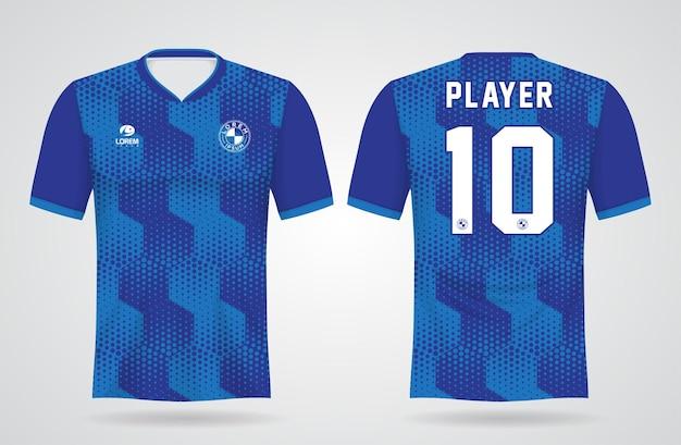 Modelo de camisa esportiva azul para uniformes de equipe e design de camisetas de futebol
