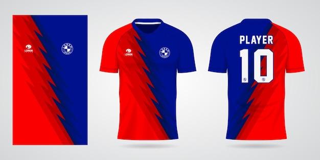 Modelo de camisa esportiva azul vermelho para uniformes de time e design de camisetas de futebol
