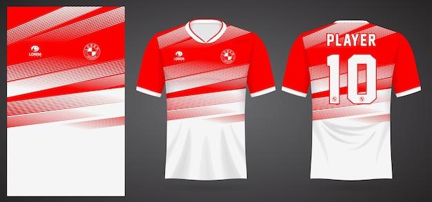 Modelo de camisa esportiva branca vermelha para uniformes de equipe e design de camisetas de futebol