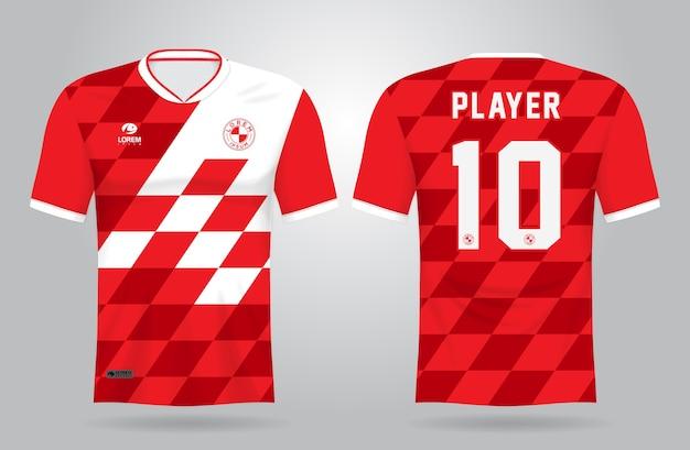 Modelo de camisa esportiva branca vermelha para uniformes de equipe