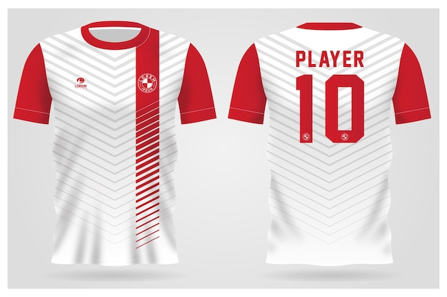 Modelo de camisa esportiva minimalista branca vermelha para uniformes de equipe e design de camisetas de futebol
