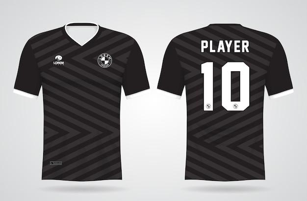 Modelo de camisa esportiva preta e cinza para uniformes de equipe e design de camisetas de futebol