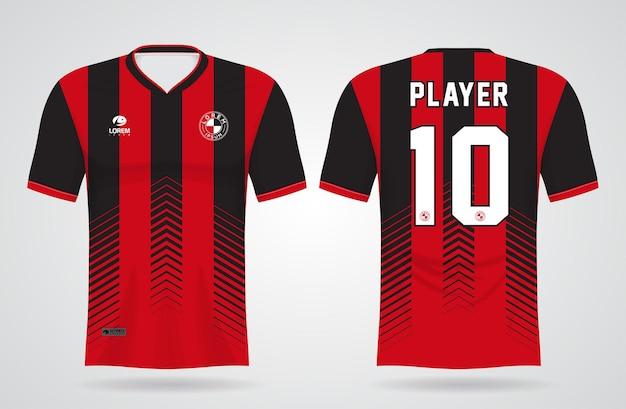 Modelo de camisa esportiva preta e vermelha para uniformes da equipe e camisetas de futebol