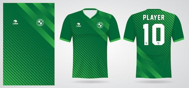 Modelo de camisa esportiva verde para uniformes de equipe e design de camisetas de futebol Vetor Premium