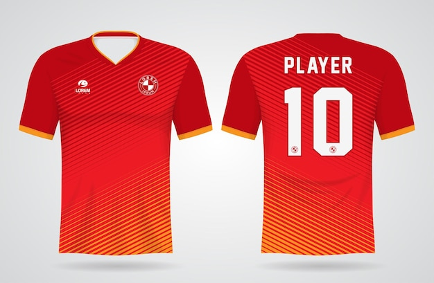 Modelo de camisa esportiva vermelha para uniformes de equipe e design de camisetas de futebol