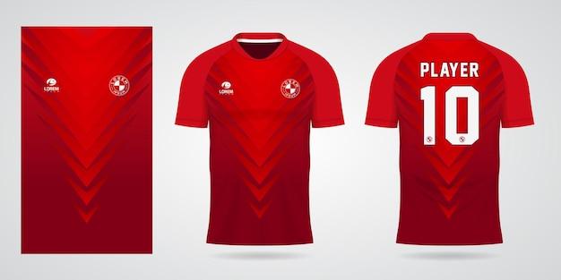 Modelo de camisa esportiva vermelha para uniformes de time e design de camisetas de futebol