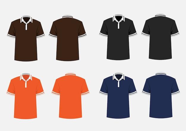 Modelo de camisa polo marrom, preto, laranja e azul.
