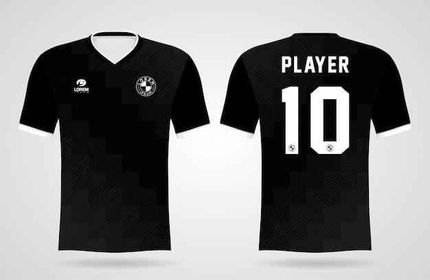 Modelo de camisa preta esportiva para uniformes de equipe e design de camisetas de futebol