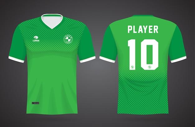Modelo de camisa verde esportiva para uniformes de equipe e design de camisetas de futebol
