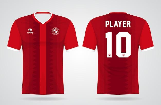 Modelo de camisa vermelha de esportes para uniformes de equipe e design de camisetas de futebol