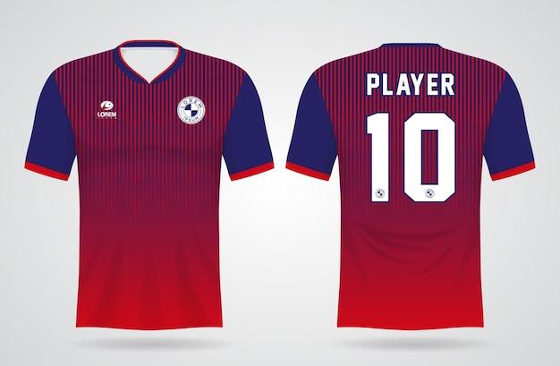 Modelo de camisa vermelha e azul esportiva para uniformes de equipe e design de camisetas de futebol