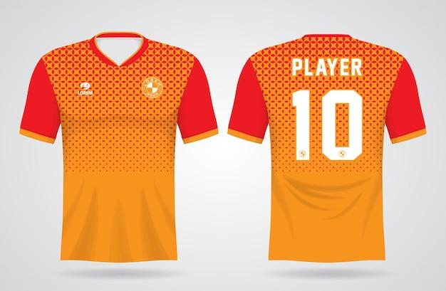 Modelo de camisa vermelha e laranja esportiva para uniformes de equipe e design de camisetas de futebol