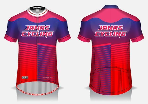 Modelo de camisa vermelha para ciclismo, uniforme, camiseta frontal e traseira