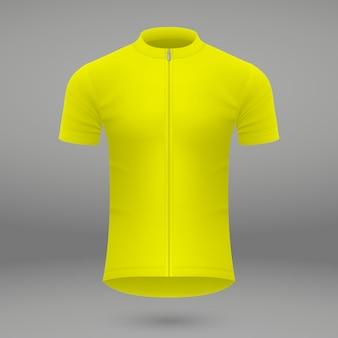 Modelo de camiseta amarela para camisa de ciclismo